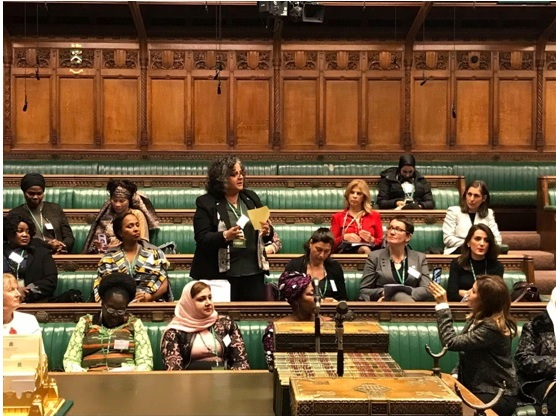 MK Aida Touma-Sliman addressing fellow participants during the meeting of women parliamentarians from around the world held at the House of Commons in London, last Thursday, November 8