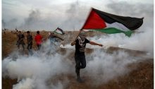 Demonstrators in the Gaza Strip last Friday, November 9