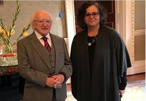 Irish President Higgins and Hadash MK Touma-Sliman, on Friday at Áras an Uachtaráin, the official presidential residence in Dublin, Ireland