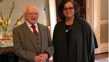 Irish President Higgins and Hadash MK Touma-Sliman, on Friday at Áras an Uachtaráin, the official presidential residence in Dublin, Ireland