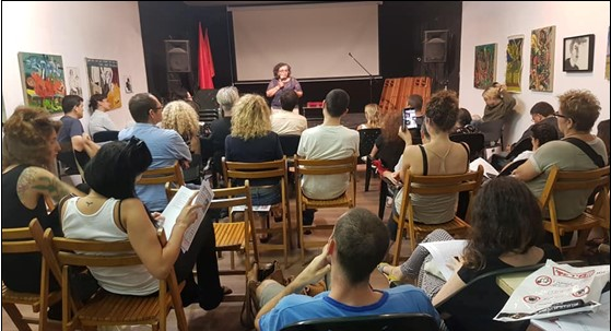 MK Aida Touma-Sliman (Hadash - Joint List) speaks before a gathering held at the Tel Aviv branch of the Communist Party of Israel.