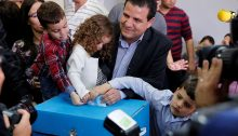 MK Odeh casting his ballot with his young family on March 17, 2015, the general elections for the 20th Knesset
