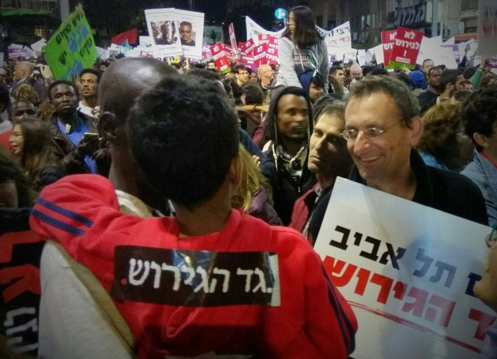 MK Dov Khenin during a demonstration in South Tel Aviv held against the expulsion of African asylum seekers and refuges, April 2018