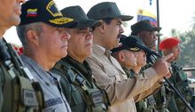 President Maduro and Venezuelan army officers Sunday, January 27, during their country's Bicentenario de Angostura 2019 military maneuvers