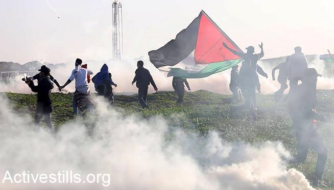 Palestinian demonstrators along the Gaza border with Israel, last Friday, February 8, 2019