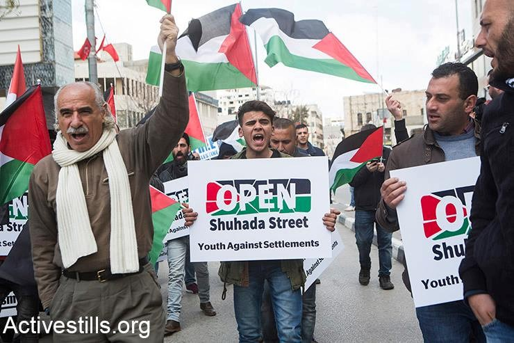 Demonstrators in Hebron, last Friday, February 22