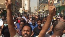 Crowds demonstrating against the Sudanese dictatorship, last week in Khartoum