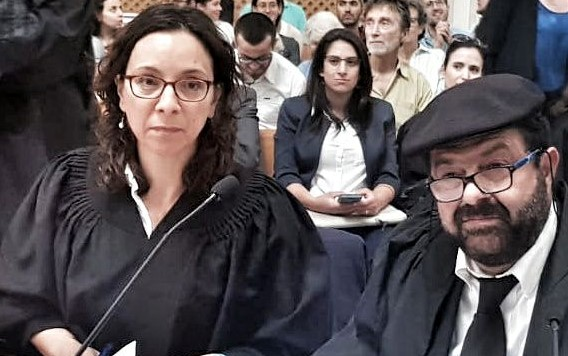 Adalah Attorney Suhad Bishara and its General Director, Attorney Hassan Jabareen, during a session held in Israel's Supreme Court in Jerusalem for a hearing on a petition against the Settlement Regularization Law, June 2, 2018
