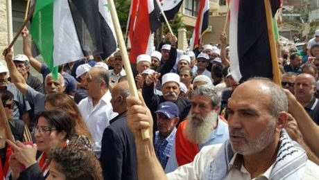 Protesters in the town of Majdal Shams in the occupied Golan Heights decry Israel's occupation policy on October 20, 2018.
