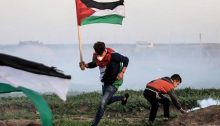 Palestinian demonstrators during one Friday's Great March of Return protests