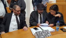 Dr. Ofer Cassif (left), Adalah General Director Atty. Hassan Jabareen (center) and Adalah Deputy General Director Atty. Sawsan Zaher at the session of the Supreme Court in Jerusalem on March 13, 2019 during which they appealed the disqualifications ruled by the Knesset's Central Elections Committee the week before.
