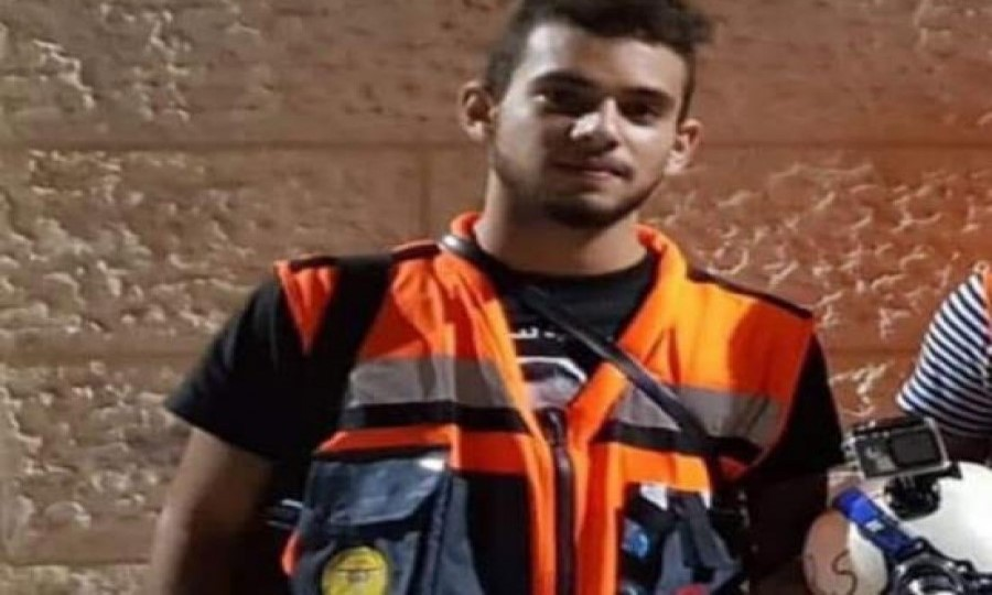 Sajed Abed al-Hakim Mizher, 18, a Palestinian volunteer paramedic who died of wounds inflicted by Israeli forces on Wednesday morning, March 27.