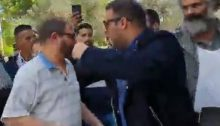 MK Oren Hazan (right) attacks Dr. Ofer Cassif following the conclusion of the political panel at Sapir College, Wednesday, March 27.
