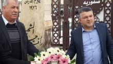 Head of the Higher Follow-up Committee of the Arab Citizens in Israel and former Hadash MK, Mohammed Barakeh and Hadash MK Yousef Jabareen during the Land Day commemoration, on Saturday, March 20, in Sakhnin