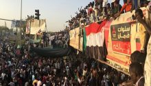 Khartoum demonstration against Al-Bashir on Wednesday evening, April 10