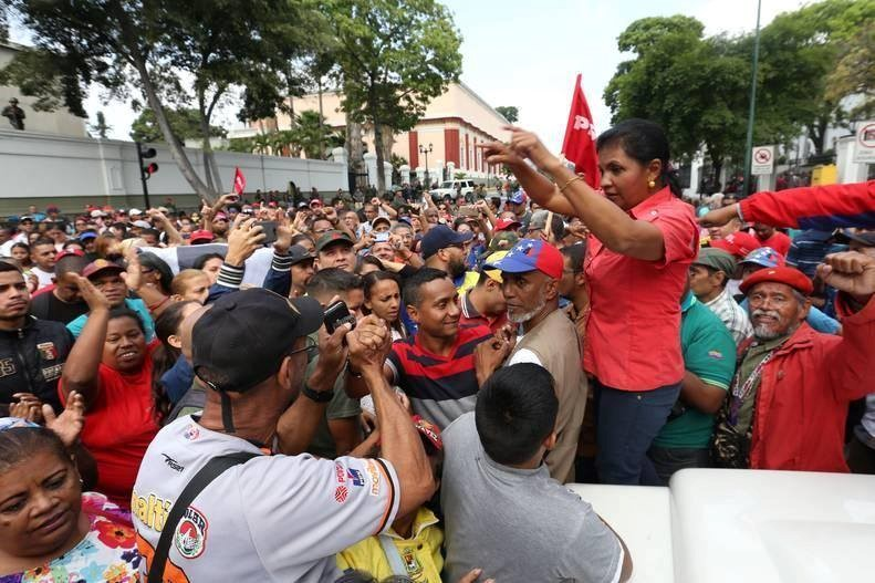 A demonstration in support of the government of Venezuelan President Nicholas Maduro near the Palacio Miraflores in Caracas, April 30, 2019