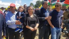 Hadash General Secretary, Mansour Dahamshe (first from left) and MK Aida Touma-Sliman (center) during the Nakba Day march to Khubbayza