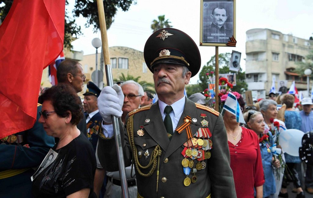 World War II Soviet Army veteran during the Victory Day event held in Haifa on May 10, 2019