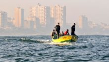Palestinian fishermen along the coast of Gaza