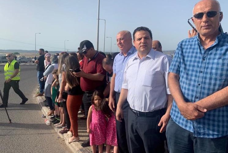 Demonstrators at the Tamra junction in the Galilee; second for right, Hadash MK Ayman Odeh