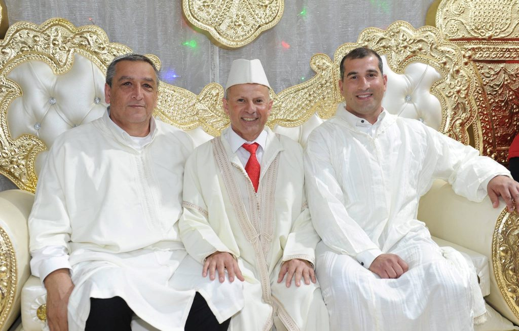 The Mayor of Afula, Avi Elkabetz (middle) at this year's Mimouna celebration, a North African Jewish tradition marking the end of the week of Passover, in the city's park
