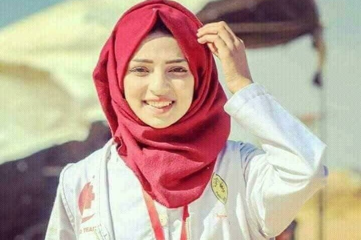 Palestinian paramedic Razan al-Najjar, 20, who was shot and killed by a live round fired by an Israeli military sniper on June 1, 2018