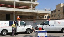 Medical teams at a construction site in Petah Tikva were two workers were seriously injured, May 2019