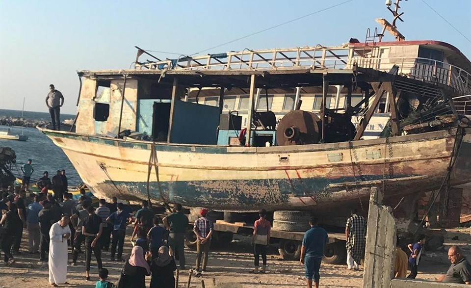 The boat of the Gaza fisherman Abdel Ma'ati Habil, which was seized by the Israeli navy in September 2016 and returned to the Strip on July 1, 2019