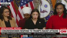From left to right, US Congresswomen Rashida Tlaib, Ilhan Omar, Alexandria Ocasio-Cortez and Ayanna Pressley during a press conference in the Capitol building in Washington DC, last Monday, July 15