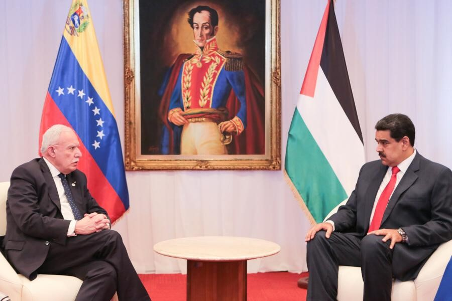 President Nicolas Maduro, right, during his meeting with the Palestinian Minister of Foreign Affairs, Riyad al-Malki, in Caracas, Venezuela