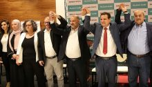 Joint List candidates at the end of the press conference held in Nazareth on Saturday, July 27; second from right, Joint List leader, MK Ayman Odeh