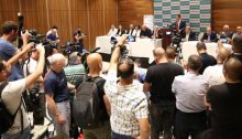 Joint List candidates at the press conference held in Nazareth on Saturday, July 27; Speaking at the podium is Joint List leader, Hadash MK Ayman Odeh. (Photo: Al-Ittihad)