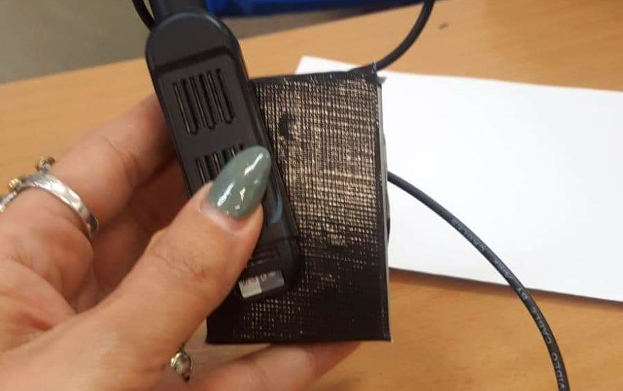 One of some 1,200 miniature cameras smuggled into polling stations in Arab communities in Israel by paid Likud observers during April 9's elections for the 21st Knesset