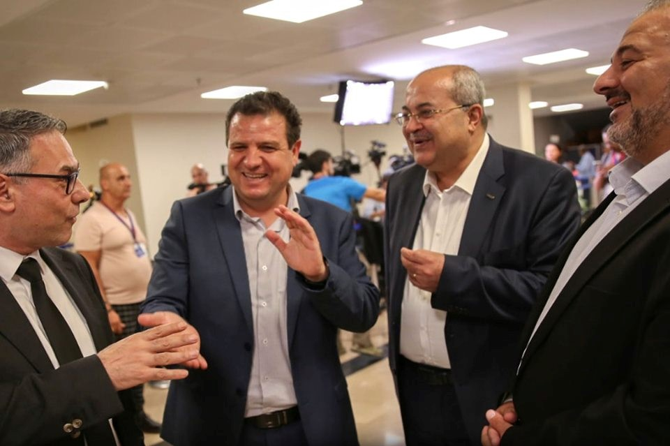 Leading Joint List MKs after submitting their list of candidates to the Knesset's Central Elections Committee, last Thursday, August 1; from left to right: Balad's Mtanes Shehadeh, Hadash's Ayman Odeh, Ta'al's Ahmad Tibi, and Ra'am's Mamsour Abbas