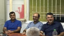 Two residents of Jaffa, Hadash Tel Aviv-Jaffa Municipal Council member Atty. Amir Badran (left), and Balad activist Sami Abu Shehadeh (center), candidate number 13 for the Joint List, along with Hadash MK Youssef Jabareen (right), from Umm al-Fahm, address the Joint List campaign launch meeting held in Jaffa on Tuesday evening, August 6.