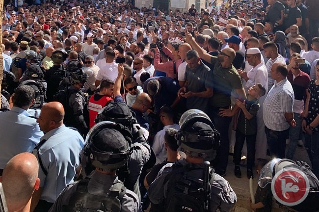 Israeli police officers in the compound just outside the Al-Aqsa Mosque where they confronted thousands of Palestinian Muslims the first day of Eid Al-Adha, Sunday, August 11.