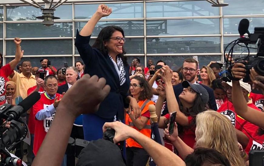 Democratic US Congresswoman Rashida Tlaib during a workers' meeting in Michigan, July 24, 2019