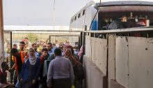 Palestinians at the Rafah Crossing Point between Gaza Strip and Egypt