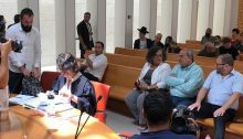 Three Joint List candidates, MKs Aida Touma-Sliman, Ahmad Tibi and Ofer Cassif, during the Supreme Court hearing last Sunday, August 25