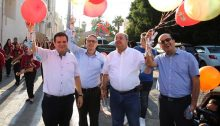 MK Ayman Odeh (first from left) with Joint List candidates Mtanes Shehadeh, MK Ahmad Tibi and Sammy Abu Shehadeh during an campaign tour in Jaffa during the recent Eid al-Adha festival