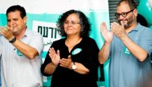 Hadash MKs Ayman Odeh, Aida Touma-Sliman and Ofer Cassif at an election campaign rally in South Tel Aviv, last Tuesday evening, September 3
