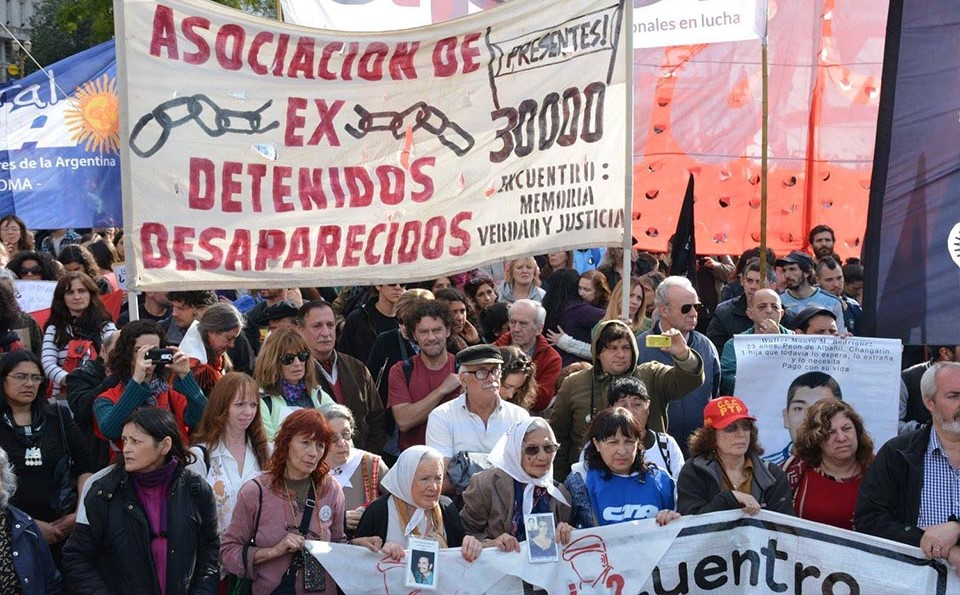 A demonstration in Buenos Aires of former political prisoners during the 7 year military dictatorship in Argentina