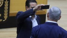 "MK Odeh and PM Netanyahu, last Wednesday, September 10, in the Knesset plenum during the debate on the provocative and racist ""camera bill"""