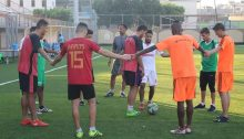 Football players of the Khadamat Rafah team during a training exercise in the Gaza Strip