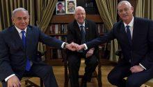 Prime Minister Benjamin Netanyahu, President Reuven Rivlin and Blue & White leader MK Benny Gantz during a meeting held on Sunday, September 22, at the Presidential Residence in Jerusalem