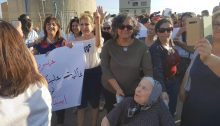 Women from the northern town of Eilabun protest against violence in their community and against police inaction, Monday, September 30, 2019. In the center is Hadash MK Aida Touma-Sliman, a resident of Akka.