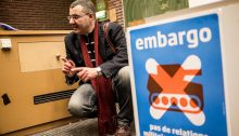 BDS Movement activist Omar Barghouti in Brussels, April 30, 2015