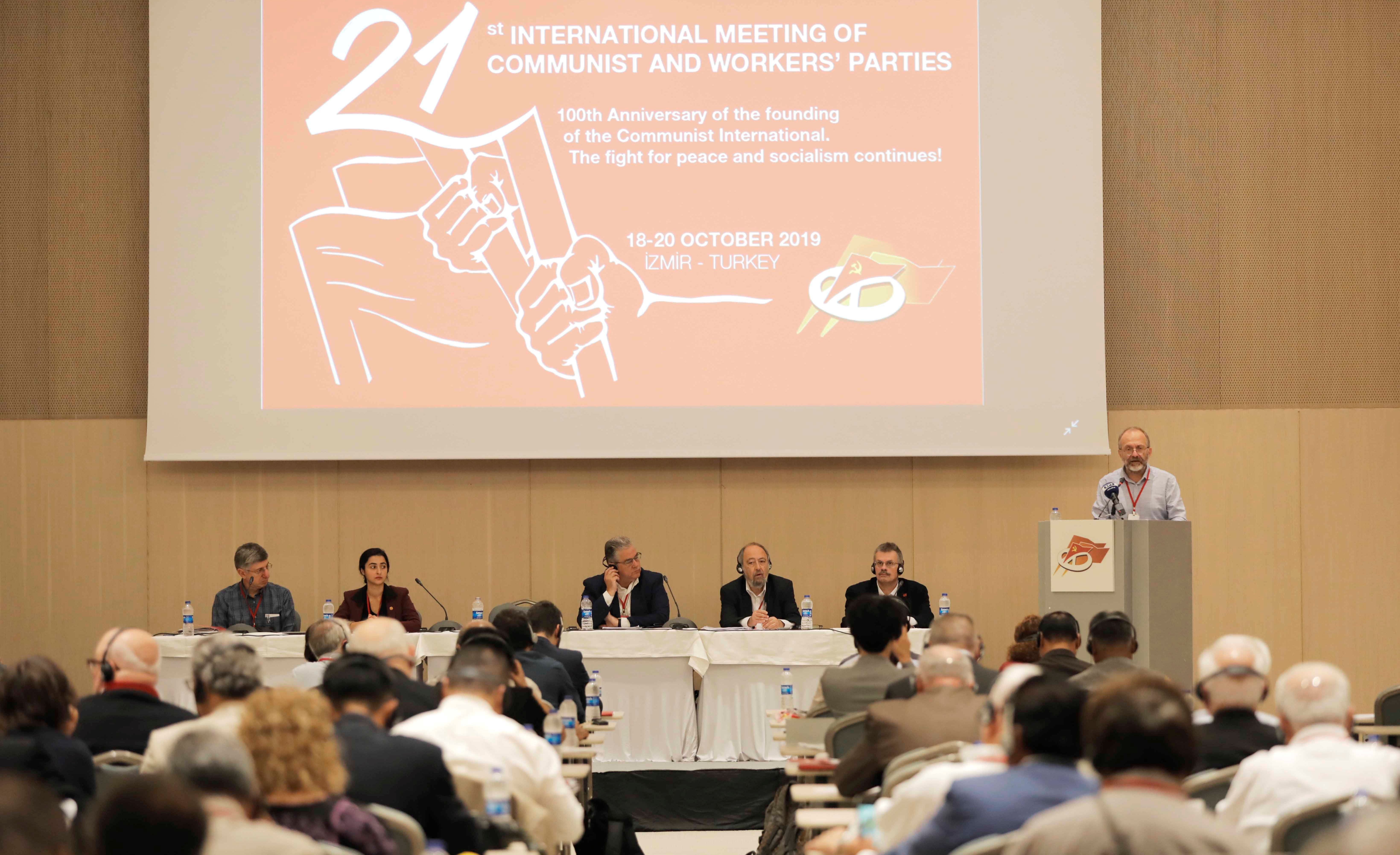 Communist Party of Turkey General Secretary, Kemal Okuyan, address delegates at the opening session of the 21st International Meeting of Communist and Workers' Parties held in Izmir, Turkey,  Friday, October 18, 2019..
