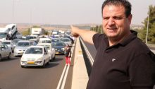 Joint List chairman MK Ayman Odeh (Hadash) with other participants in the protest convoy to Jerusalem that was held on Thursday morning, October 10