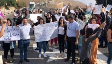"Hadash activists and residents of the predominately Arab Akbara neighborhood in Safed demonstrated last Friday, November 1, against racism after fascists sprayed graffiti and vandalized Arab-owned vehicles in the in northern Israel community. The sign at the extreme left reads: ""Our towns and property are not lawless."""